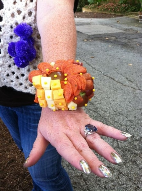 Corsage made from meats and cheese