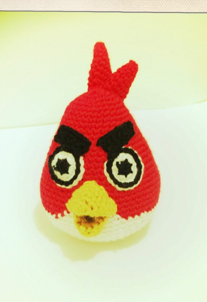 Crocheted plush red angry bird