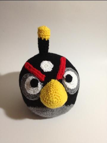 Crocheted Black Angry Bird Pattern