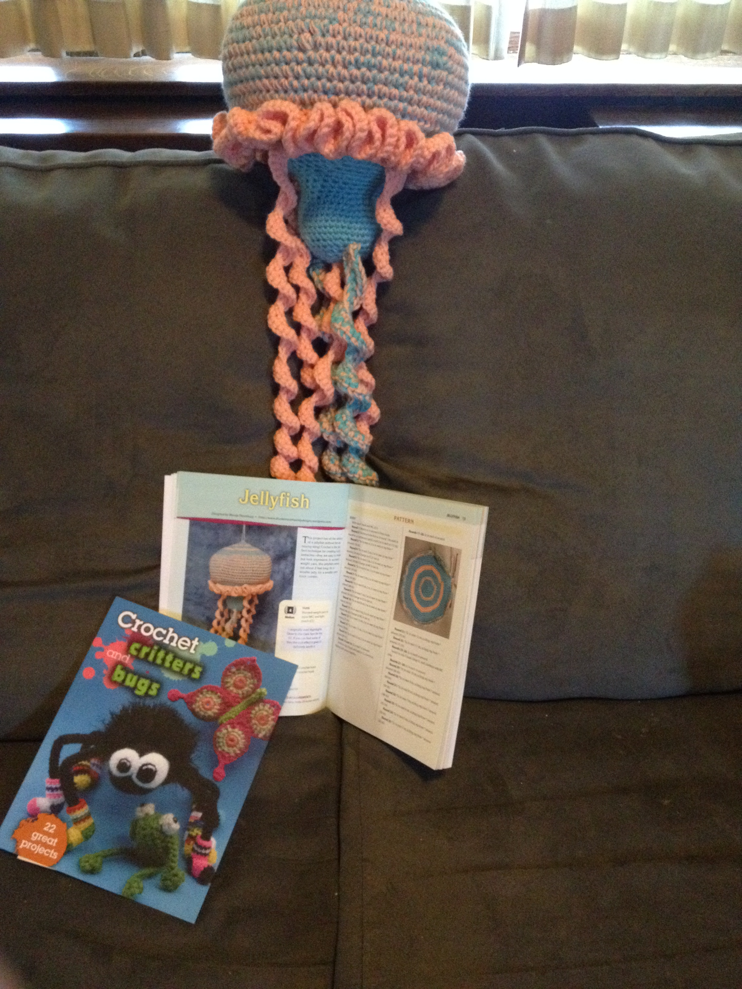 Crochet pattern book with jellyfish